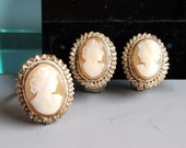 Antique Edwardian Cameo Ring And Earrings Parure Set Victorian Italian
