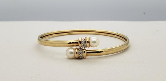 14K Solid Gold Pearl & Diamond Bangle Cuff Bracele