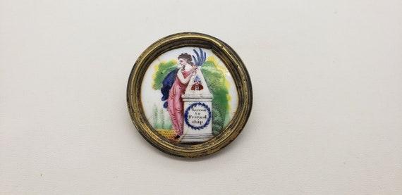 Early Antique Memorial Porcelain Picture Button Br