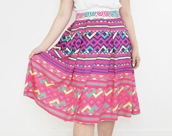 Handmade Pink Printed Pattern Newborn Baby Hmong Pleated Skirt