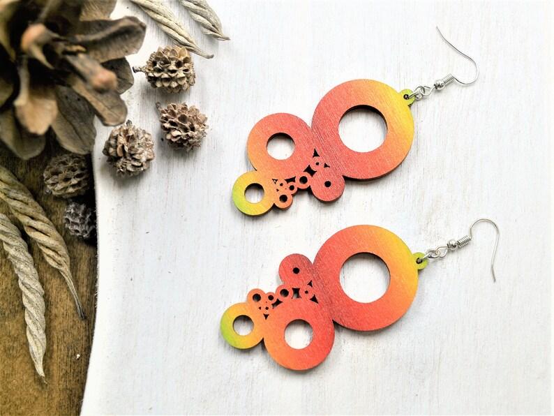 Modern Earrings Wood Earrings Geometric Earrings Dangle Earrings Boho Jewelry Wood Jewelry Statement Earrings Birthday Gift for Her