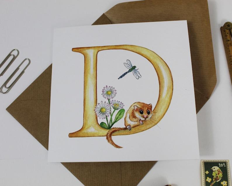 letter d monogram greeting card initials monograms  etsy