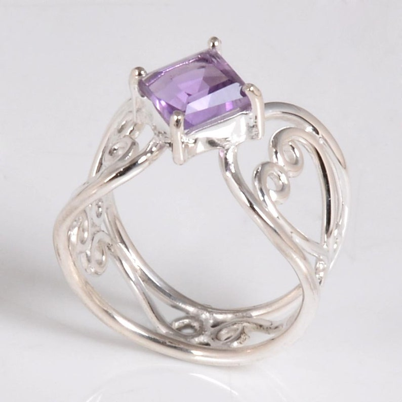 New Designs 925 Sterling Silver Cut Square Purple Amethyst Ring Natural Jewelry