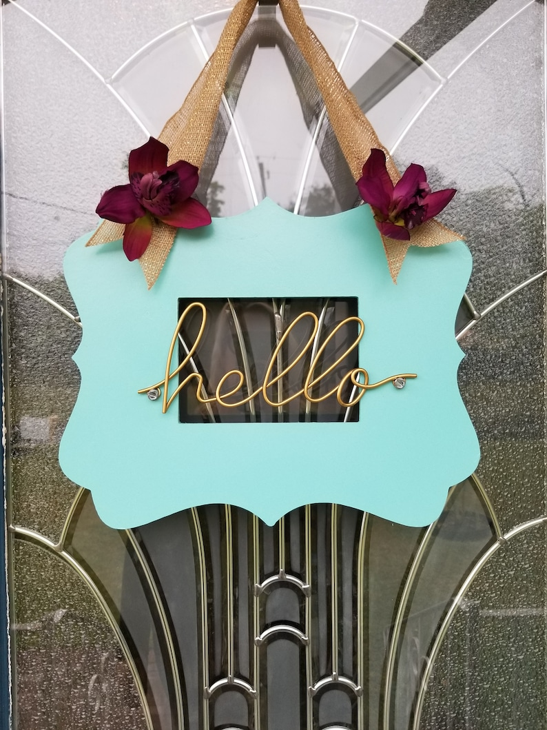 Large Oversize Robin/'s Egg Blue Hello Frame with Burlap Ribbon and Purple Iris Accents Door Hanger