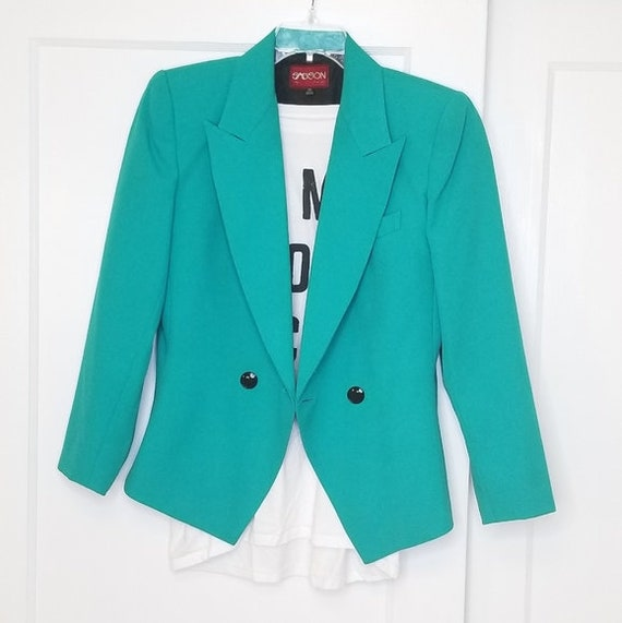 Vintage Sasson Teal Power Suit Tuxedo Cut Blazer