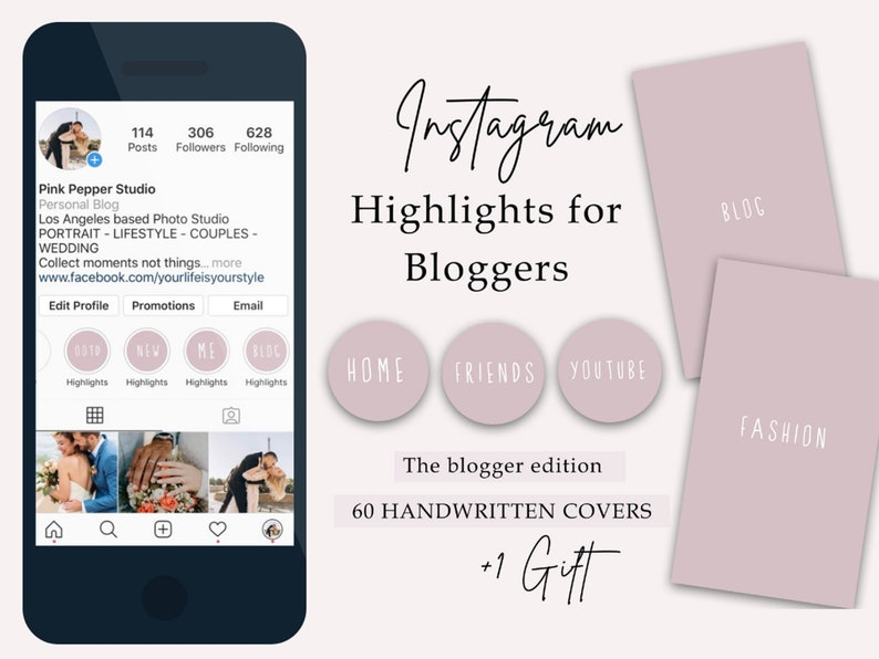 Instagram Highlight Covers for Bloggers  Pink  White  image 0