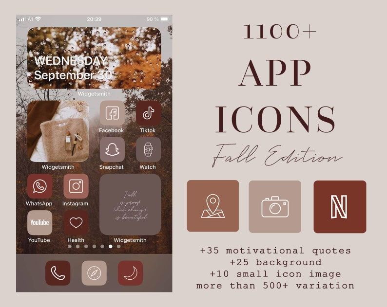 IOS14 App Icons Fall ultimate Bundle Autumn App Covers Icons image 1