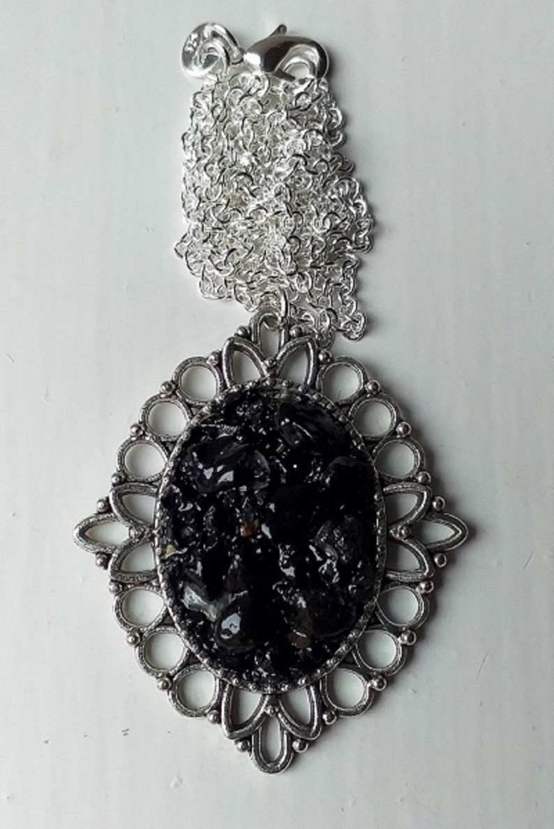 Sterling Silver Anthracite Coal Jewelry UK 925 Sterling Silver Coal Jewellery Silver Coal Pendant Necklace English Coal Stone Necklace