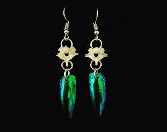 Python Vertebrae & Beetle Wing Dangle Earrings