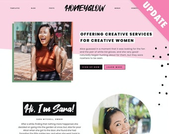 Honeyglow | Cute Wordpress Theme & Template | Creative Wordpress Blog, Feminine Ecommerce Theme | Gutenberg Blocks