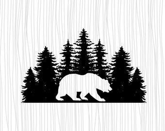 Bear in the Woods Clip Art