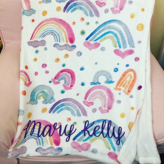 Personalized Pillowcases Shams and Bedding for Girls with Watercolor Hearts Pink Elephants and Rainbow Art By Michele Sobel
