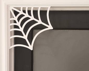 Spider Web Door Corner || gothic home decor hallween wall art gothic door frame accessory cobweb arachnid webbing || 3D Printed