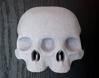 Hanging Conjoined Skull Wall Art || gothic home decor halloween accessory sideshow goth macabre siamese witch gallery wall || 3D printed