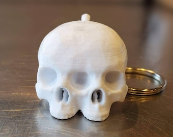 Conjoined Skull Keychain  || anatomy key ring goth pendant gothic accessories human skull with jaw medical jewelry heart eyes