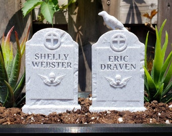 Eric and Shelly Headstone Set Garden Markers || Gothic Home Decor Goth Grave Horror The Crow Tombstone Gravestone Cake Topper || 3D Print
