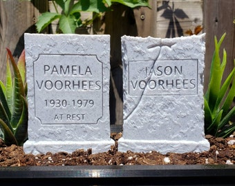 Jason and Pamela Voorhees Headstone Set Garden Markers || Horror Gothic Home Decor Grave Tombstone Friday the 13th Cake Topper || 3D Print