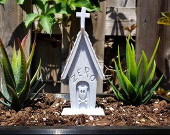 Ghost Dog Headstone Garden Marker || Horror Gothic Home Decor Goth Zero Grave Plant Tombstone Christmas Halloween Cake Topper || 3D Print