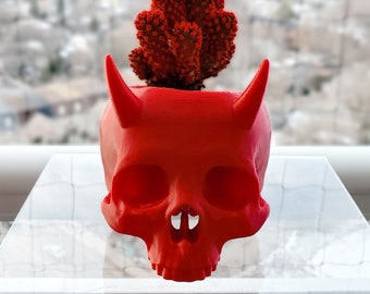 Horned Skull Succulent Planter || Gothic Home Decor Goth Garden Accessory Witchy Plant Pot Makeup Brush Holder || 3D Printed