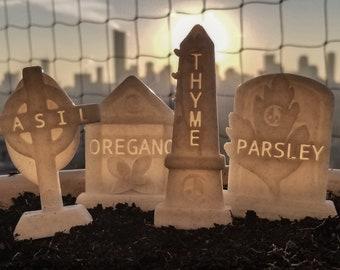 Herb Tombstone Graveyard Garden Stakes
