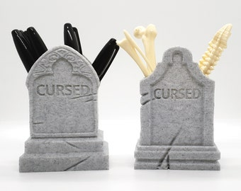 Tombstone Pen Cup || gothic office accessories makeup brush holder 3d printed Gravestone witchy home decor desk organizer