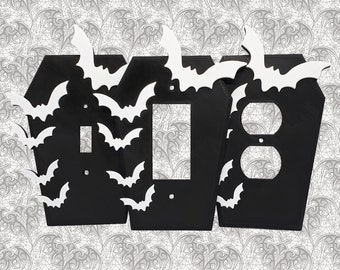 Batty Coffin Light Switch Cover    Gothic Home Decor Goth Bat Wall Plate Outlet Accessory Single Dual Toggle Rocker Duplex    3D Printed