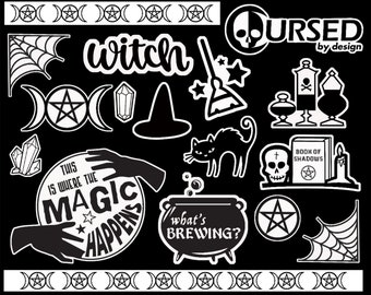 Witch Sticker Sheet Stickers || Witchy Gothic washi tape stationery planner scrapbook