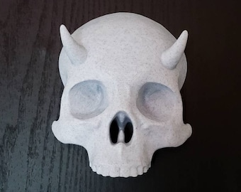 Hanging Horned Skull Wall Art || gothic home decor halloween accessory devil goth macabre witch gallery wall || 3D printed