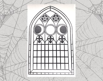 Moon Goddess Stained Glass Permanent Vinyl Decal || Gothic Home Decor Halloween Decoration Witch Pentagram Car Accessories Bumper Sticker