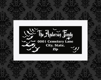 Custom Bats Return Address label tags 8X6 Sticker Sheet Stickers Witchy Gothic gifts wrapping goth horror occult Ouija stationary