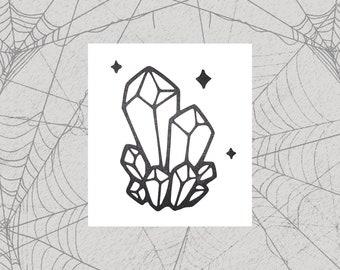Crystals Permanent Vinyl Decal || Gothic Home Decor Halloween Decoration Witch Pentagram Car Accessories Bumper Sticker