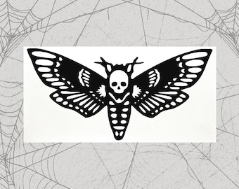 Death Head Moth Permanent Vinyl Decal || Gothic Home Decor Halloween Decoration Deaths Head Hawkmoth Sticker