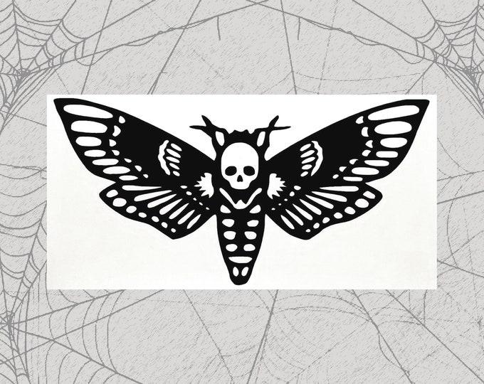 Featured listing image: Death Head Moth Permanent Vinyl Decal || Gothic Home Decor Halloween Decoration Deaths Head Hawkmoth Sticker