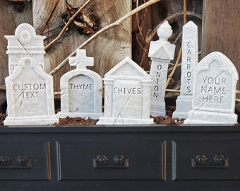 Custom Headstone Garden Markers v2 || Gothic Home Decor Goth Grave Plant Herb Tombstone Gravestone Cake Topper || Personalized 3D Print