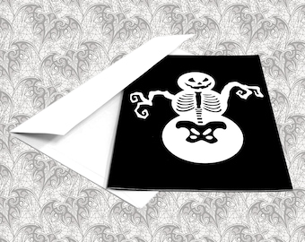 Skeleton Snowman Gothic Christmas Greeting Card || Birthday Holiday Anniversary Goth Occasion Dark Love Creepy Gift Cursed Card