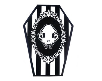 White and Black Cat Skull Coffin Greeting Card