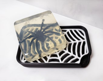 Spider Web Soap Dish || gothic goth home decor creepy bathroom accessories removeable tray