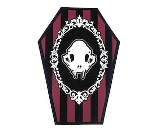 Red and Black Cat Skull Coffin Greeting Card