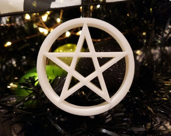 Choose your Star/Heart Pentagram Tree Ornament || gothic holiday decoration goth accessories yule bauble xmas adornment christmas halloween