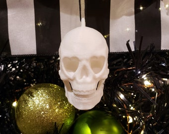 Heart Eyed Skull Tree Ornament || gothic holiday decoration goth accessories yule bauble xmas adornment christmas halloween