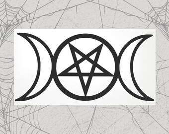 Triple Moon Goddess Permanent Vinyl Decal || Gothic Home Decor Halloween Decoration Witch Moon Pentagram Sticker Goth Symbols