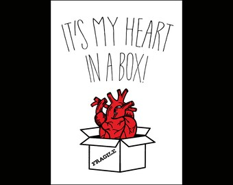 Its My Heart In a Box! 5x7 Greeting Card || Valentine's Day Anniversary Birthday Goth Gothic Occasion Holiday Sexy