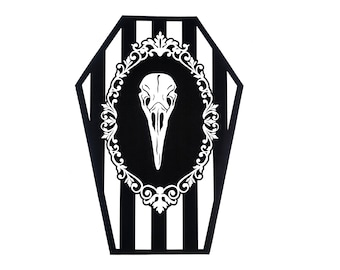 White and Black Crow Skull Coffin Greeting Card