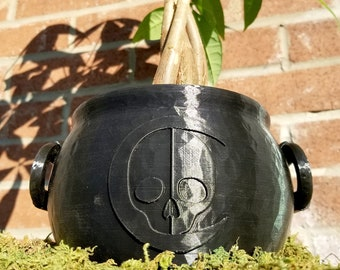 Cauldron Planter || Witchy Home Decor Goth Garden Accessory Gothic Plant Pot Makeup Brush Holder Wicca Spell Brew Crucible || 3D Printed