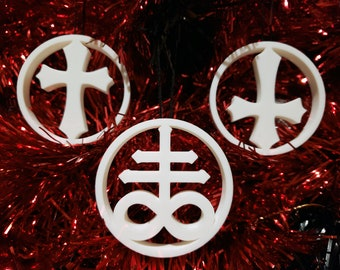 Choose your Cross Tree Ornament Inverted, Leviathan || gothic holiday decoration accessories yule bauble xmas adornment christmas halloween