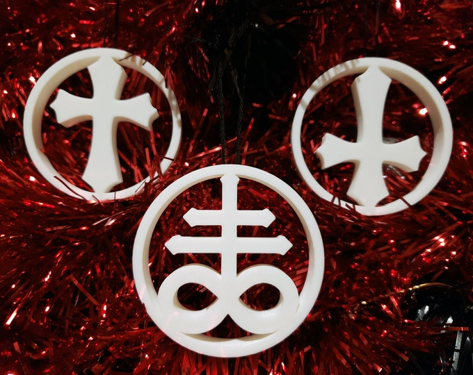 Featured listing image: Choose your Cross Tree Ornament Inverted, Leviathan || gothic holiday decoration accessories yule bauble xmas adornment christmas halloween