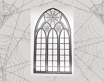 Spiderweb Stained Glass Permanent Vinyl Decal || Gothic Home Decor Halloween Decoration Witch Pentagram Car Accessories Bumper Sticker