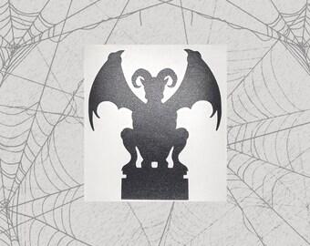 Demon Gargoyle Permanent Vinyl Decal    Gothic Home Decor Halloween Decoration Witch Pentagram Car Accessories Bumper Sticker