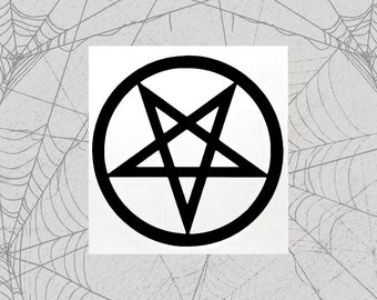 Pentagram Permanent Vinyl Decal || Gothic Home Decor Halloween Decoration Pentacle Satan Star pentagram goth  Reversible witch witchy