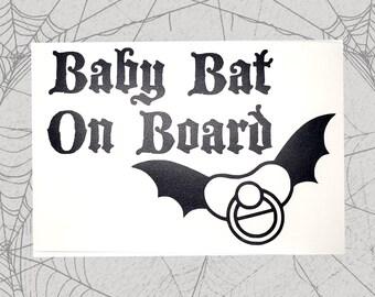 Baby Bat on Board Permanent Vinyl Decal || Gothic Home Decor Halloween Decoration Witch Pentagram Car Accessories Bumper Sticker